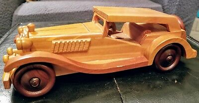 Vintage Wooden Handcrafted Antique Classic Car model Handmade Collectible