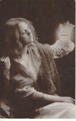 Advertising - Glamour Lady Holding Robertson Light Bulb 1907 Real Photo Postcard