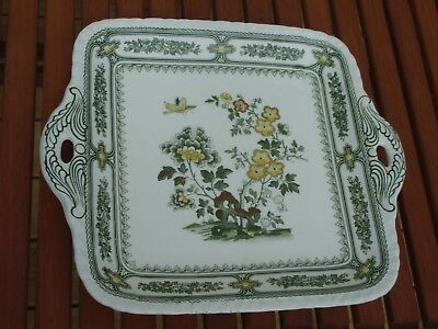 Excellent Vintage Square Masons Cake / Sandwich Serving Plate green and yellow
