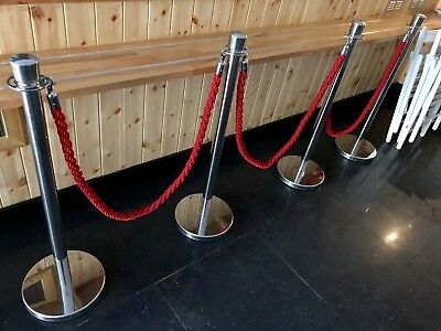 Stainless steel barrier poles with red rope included, bought new, used 2 months
