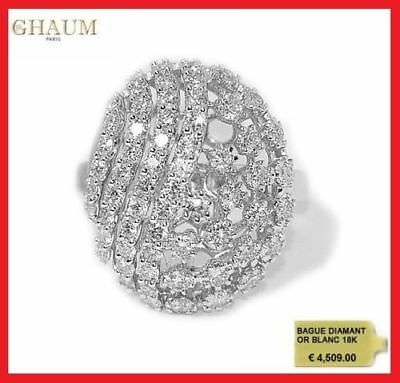 BAGUE DIAMANT ALLIANCE DIAMANTS 1,21 Carat OR BLANC 18K 750° 4509€ STYLE FABERGE