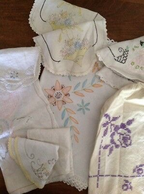 Vintage Lot Of Linens 11 Pieces Table Runners Doilies Dresser Scarves Embroidery