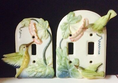VTG Takahashi Single and Double Light Switch Plate Cover Hummingbird Flower Lot