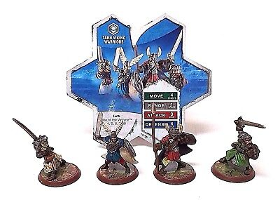 Heroscape Rise of the Valkyrie Tarn Viking Warriors 4 Mini Figures + Stats Card