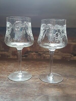 cambridge glass marjorie fuchsia etch water goblets set of 2 art nouveau - Cambridge Glass