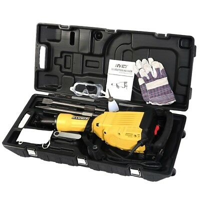 Demolition Jack Hammer Kit Concrete Breaker Drills Chisel Punch Bit W/Case