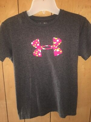 Under Armour Girls T Shirt Top Size Youth YXL Gray/Pink