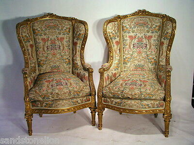 Pair Of Antique LOUIS XVI BERGERE WING CHAIRS MUSEUM QUALITY.WGoverment /Papers