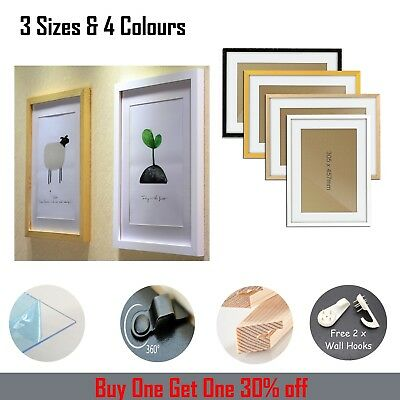 Solid wood hand paint PHOTO PICTURE POSTER FRAME LARGE BLACK WHITE GOLD OAK A2