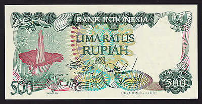 """1x""""Indonesia 500 Rupiah P121 GEM UNC Banknote""""INSECT EATING FLOWER"""",""""RARE"""""""