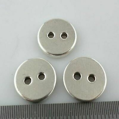 Round Button shape Bead Antique Silver Charms Spacer Beads fit Bracelet Making