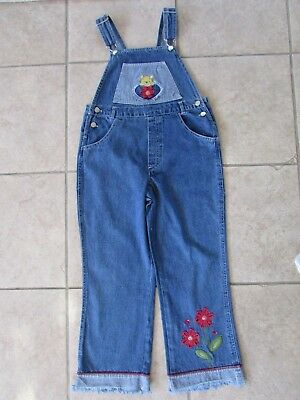 Girls Disney Winnie The Pooh Bib Overall Jeans Youth Size M (7/8)