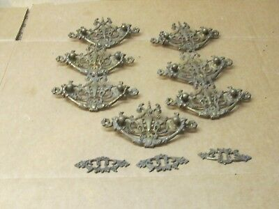 7 Vintage Fancy Brass Drawer Pulls & 3 Key Holes
