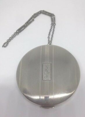 Signed Antique 1920s Sterling Silver Compact W Chain Art Deco Vanity Collectible