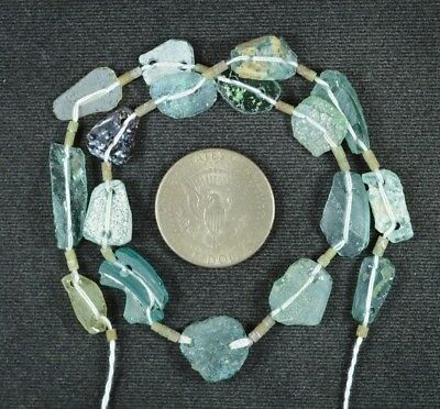 Ancient Roman Glass Beads 1 Medium Strand Aqua And Green 100 -200 Bc 897