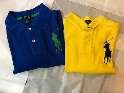 EUC! Boy's Lot of (2) Ralph Lauren BIG PONY Rugby Polos sz. (L)  - FREE SHIPPING