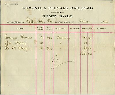 West- Nevada-  Virginia & Truckee Rr Employee Time Sheet 1893
