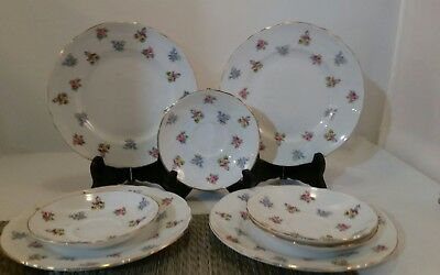 8 CROWN STAFFORDSHIRE Floral Bouquet (Scalloped,Gold Trim)PLATES & MORE
