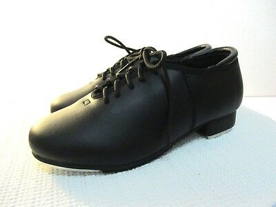 Theatricals Size 6 M Black Leather Womens Girls Youth Slip On Tap Shoes