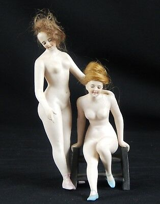 Rare Double Bathing Beauty Seated Finest Bisque Galluba & Hoffman Original Wigs