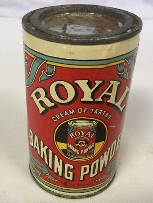 1963 vintage ROYAL BAKING POWDER TIN CAN  clean bright label Rusty Top