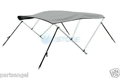 "Bimini 3 Bow Top Boat Cover Gray 6ft 46""H 79""-84""W Rear Support Poles"