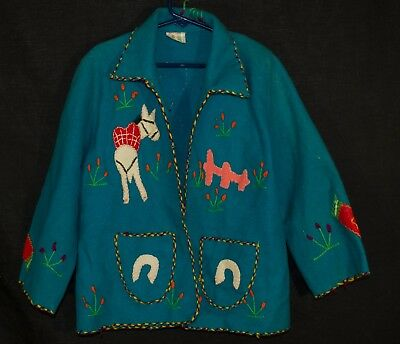 Vintage WOOL FELT JACKET Child's Coat Hand Embroidered Souvenir 1950s