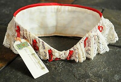Victorian Edwardian red silk lace collar deadstock Xmas gift burgundy knots