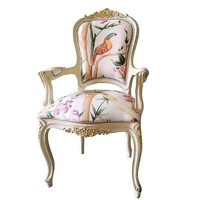 Antique Victorian Armchair New Exclusive Parrots Pattern Upholstery New