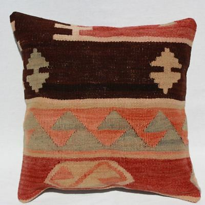 Antique Turkish Kilim Pillow 16x16, Kilim Rug Cushion Cover 16x16