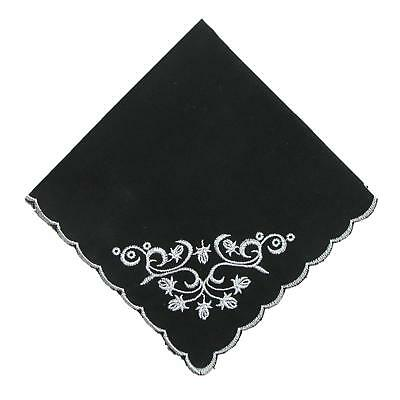 New CTM Women's Cotton Black and White Floral Scroll Handkerchief