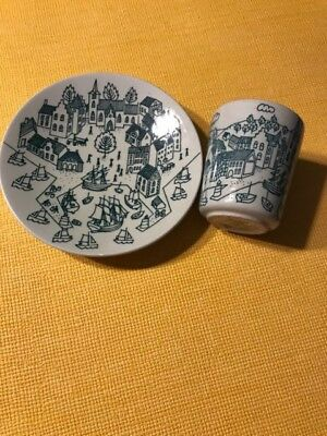 Nymolle Folk Art Faience Hoyrup Limited Edition Cup And Saucer #4006 Denmark