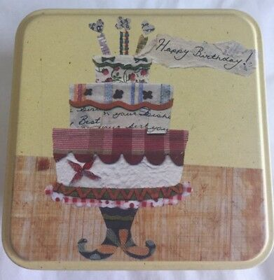 Vintage Fossil Happy Birthday Cake 3.5 inch Square Yellow Gift Tin Only 2004