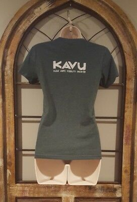 kavu t shirt green & white klear above visibility unlimited kids size Medium
