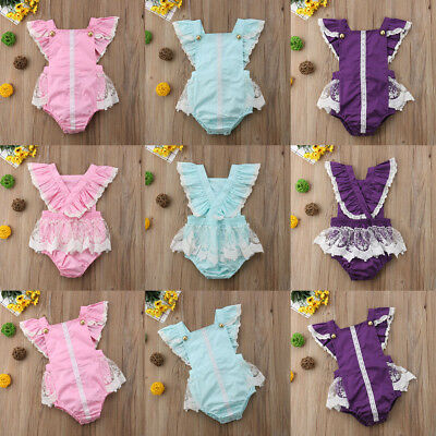 AU STOCK Newborn Kids Baby Girls Ruffle Clothes Jumpsuit Romper Bodysuit Outfit