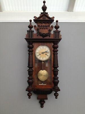 Antique Vienna Style Wall Clock 8 Day Early 20th Century Pediment Fully Working.