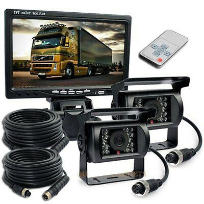 """Wired 2x IR Rear View Backup Camera Night Vision System+ 7"""" Monitor for RV Truck"""