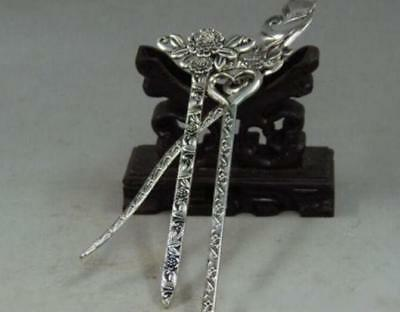 Collectibles Decorated Handwork Old Miao Silver Carving Noble Hairpin 3pc