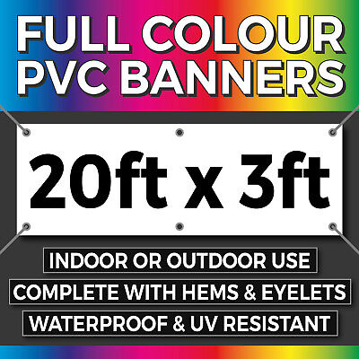 Full Colour Outdoor PVC Banner - 20ft x 3ft - Sign for Business Birthday Parties