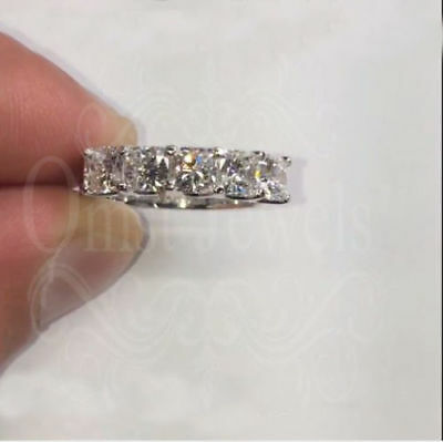 3.20Ctw Five Forever Moissanite Stone Unique Wedding Band 14K White Gold Over