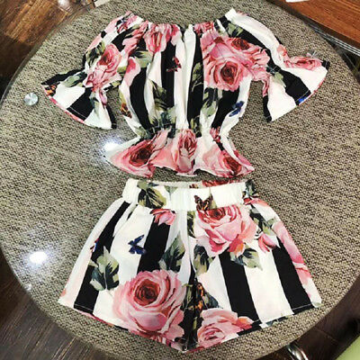US Stock Toddler Kids Girls Stripe Floral Tunic Tops Shorts Outfits Set Clothes