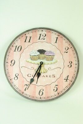 Kitchen Wall Clock Pink and Brown  Cupcakes on Stand