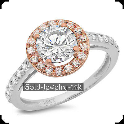 AURORA 2.30Ct Round Diamond Lab-created 14K White GOLD Engagement Ring for Woman