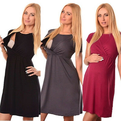 AU Summer Pregnant Women Sleeveless Maternity Breastfeeding Nursing Dress S-2XL