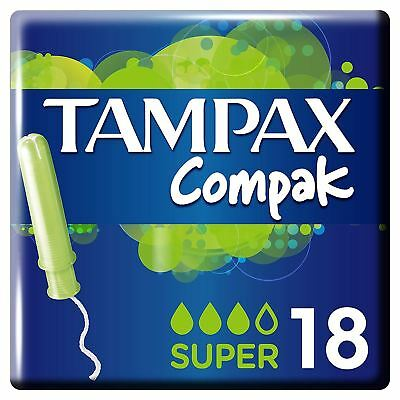Tampax Compak Super Women's Tampons with Applicator & Leak Protection - 18 Pack