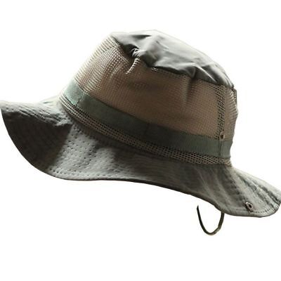 Mens Fishing Mesh Cap Sun Protection Wide Brim Boonie Bucket Hat Outdoor Camping