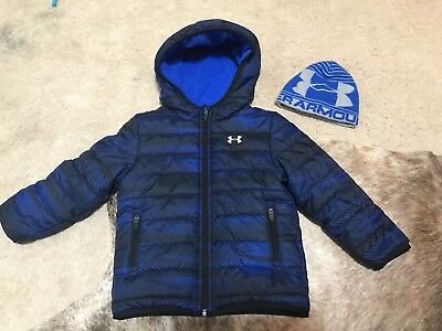 Under Armour 3t Blue Boy's Hooded Reversible Puffer winter Jacket EUC