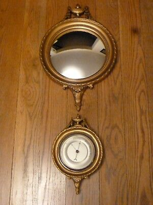 Vintage Neo-Classical Style Gilt Framed Barometer With Matching Mirror