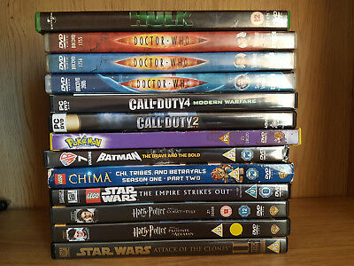 Job Lot DVD Dr Who Hulk Call Of Duty Pokemon Batman Lego Harry Potter Star Wars