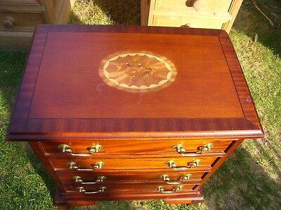Miniature set of drawers marquetry top jewellery cutlery collectors cabinet